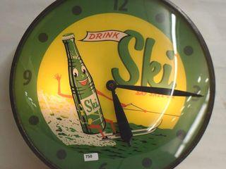 Ski Soda bubble glass Pam clock