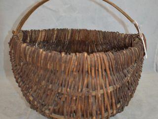 Vintage curved wicker basket