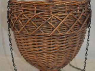 Vintage wicker hanging basket