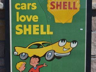 Shell  Cars love Shell  paper advertising poster  framed