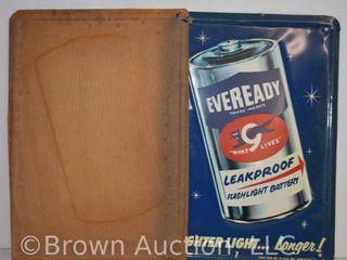Eveready  Nine 9 lives  flashlight battery embossed sst sign   NOS