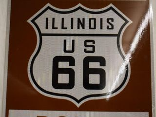 Illinois Historic Route 66 highway marker sign