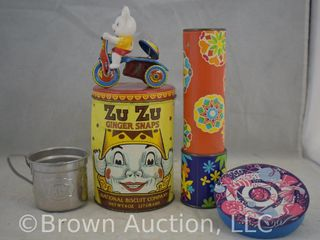 Old children s items incl  kaleidoscope  wind up bear on motorcycle  tin cup  etc