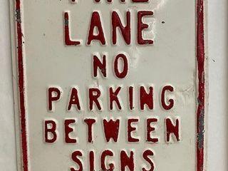 Fire lane No Parking embossed metal sign