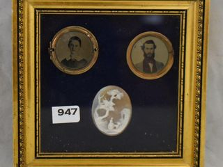 Smal framed shadow box w 2 pics in locket and scenic lady w goat Cameo brooch