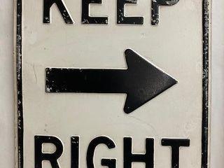 Keep Right  Arrow  embossed metal road sign