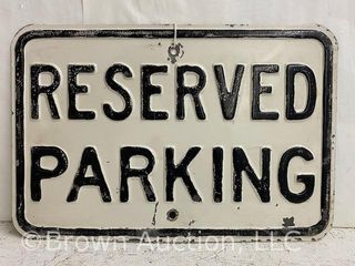 Reserved Parking embossed metal sign
