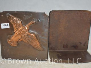 Pr  Copper clad ducks in flight bookends