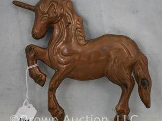Small copper unicorn weather vane topper