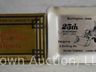 2  Metal advertising ashtrays
