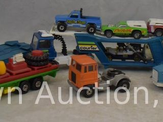Assortment of die cast tractor trailer and trucks  some Matchbox