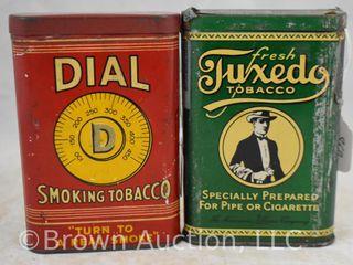 2  Pocket tobacco tins   Dial and Fresh Tuxeco