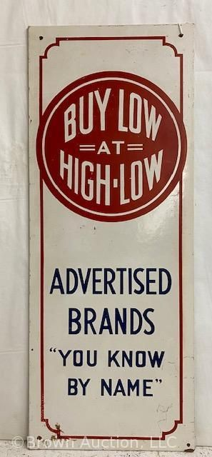 Buy low at High low  masonite advertising sign
