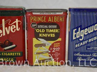 3  Pocket tobacco tin   Prince Albert  Velvet and Edgeworth