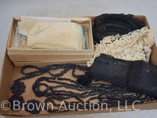 Assortment of Vintage beaded accessories  collars and old handkerchiefs