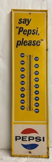 Pepsi advertising vertical thermometer  embossed SST