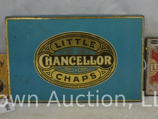 3  Small tobacco tins   Between the Acts little cigars  B F  Gravely Superior chewing tobacco