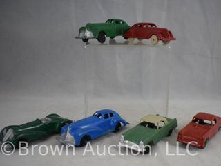 6  Die cast toy cars incl  Tootsietoy and Manoil