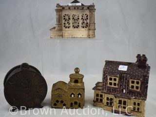 4  Cast Iron banks  2 story house  Time is Money  Mosque   Bank  building