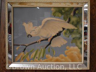 Vintage Turner Cockatoo print in original mirror frame
