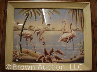 Vintage Turner Flamingos framed print