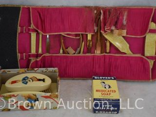 Child s comb and brush set  original box  Glover s medicated shampoo soap  Celluloid nail set