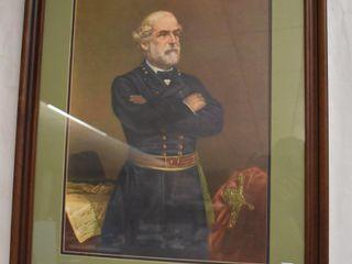 large framed print of  Civil War  General Robert E  lee by J A  Elder