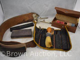 Assortment of shaving accessories incl  razors  clippers  brush  razor strap  etc