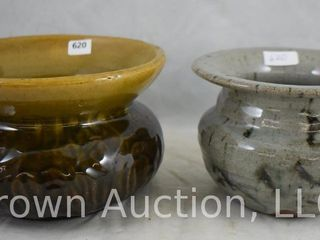2  Pottery spittoon cuspidors