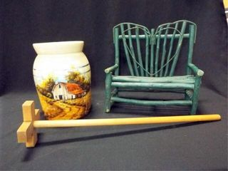 Painted Crock  Wood Paddle  Stick Bench