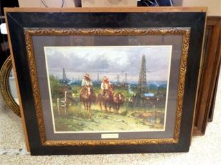 G  Harvey   Oil Patch Cowhands  framed