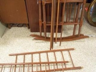 Antique Wood Baby Cradle