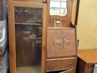 Wood Secretary Desk  Display Cabinet
