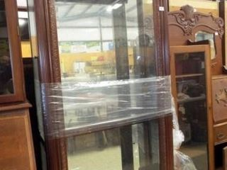 Wood Display Cabinet  Glass Shelves