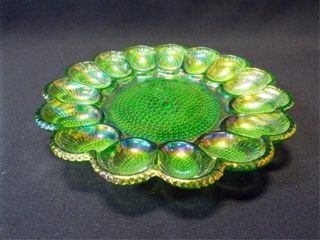Carnival Glass Green Egg Dish  11