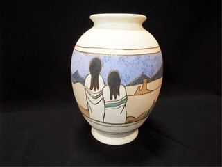 Pottery Floor Vase  Southwest Style  14