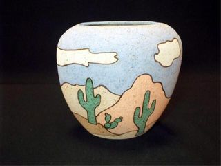 Pottery Vase  marked Anne Burnett  8 5