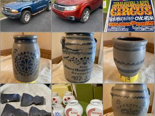 Antiques, Vehicles, Stoneware, and More
