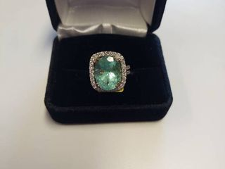 14k White Gold Ring with 10 6 carat Emerald and 1 5 carats of Diamonds