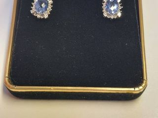 10k Earrings with 4 0 carat TW Sapphires and Diamonds