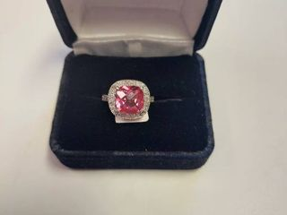 14k White Gold Ring with 5 07 carat Pink Topaz and 0 5 carat of Diamonds