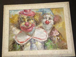 Framed clown art 15 x 19