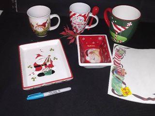 Christmas Decor 3 Coffee Mugs and 2 Ceramic Bowls