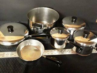 10 pcs  Revere Ware  Pot and Pan Set  2 pcs  have interchangeable lids