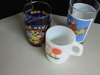 PacMan Glass  Fisherman s Glass and a McDonald s Coffee Mug