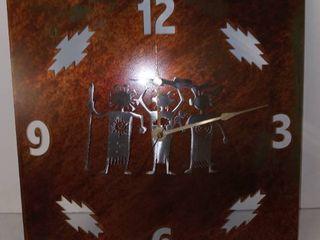 Metal Native American Clock 12 x 12 in