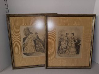 Pair of Victorian Women Framed Art 16 x 14 in Each