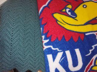 2 Throw Blankets  1 is KU Jayhawks Throw