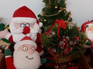 Santa Claus Plush Toys with Christmas Tree Decor