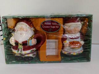 Santa Holiday Creamer Sugar Set